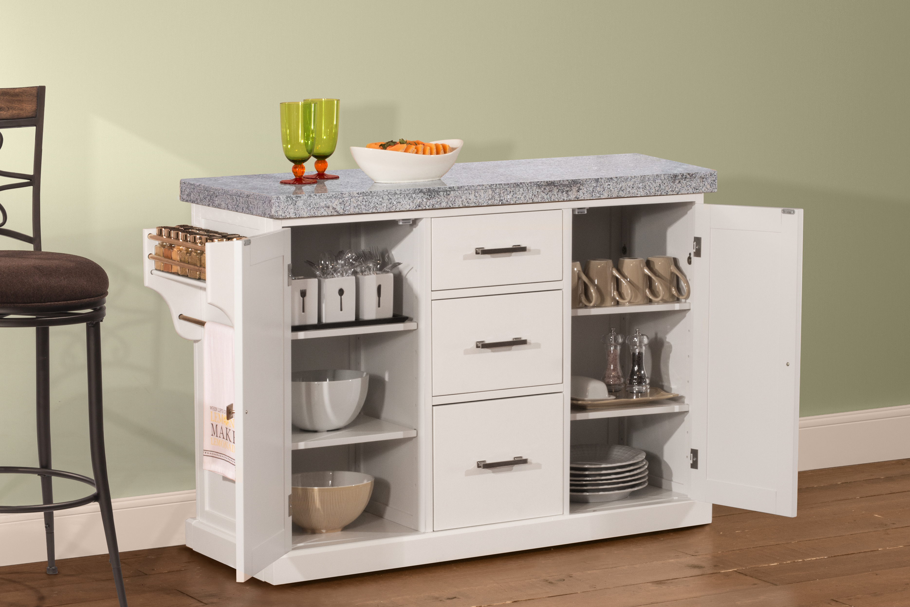 Brigham Kitchen Island In White With Granite Top