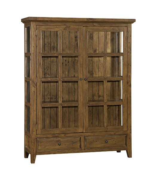 Tuscan Retreat® Display Cabinet 2 Doors 2 Drawers with Clear Glass - Antique  Pine - Tuscan Retreat® Display Cabinet 2 Doors 2 Drawers With Clear Glass