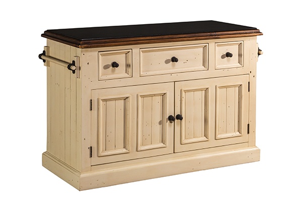 Tuscan Retreat 3 Drawer 4 Door Large Granite Top Kitchen Island Country White With Antique Pine T